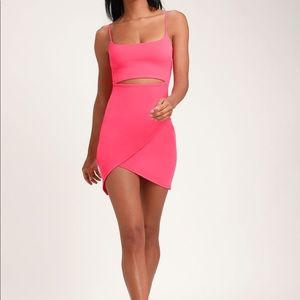 Hot pink cutout bodycon dress